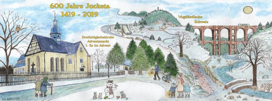 600 Jahre Jocketa Panorama Postkarte